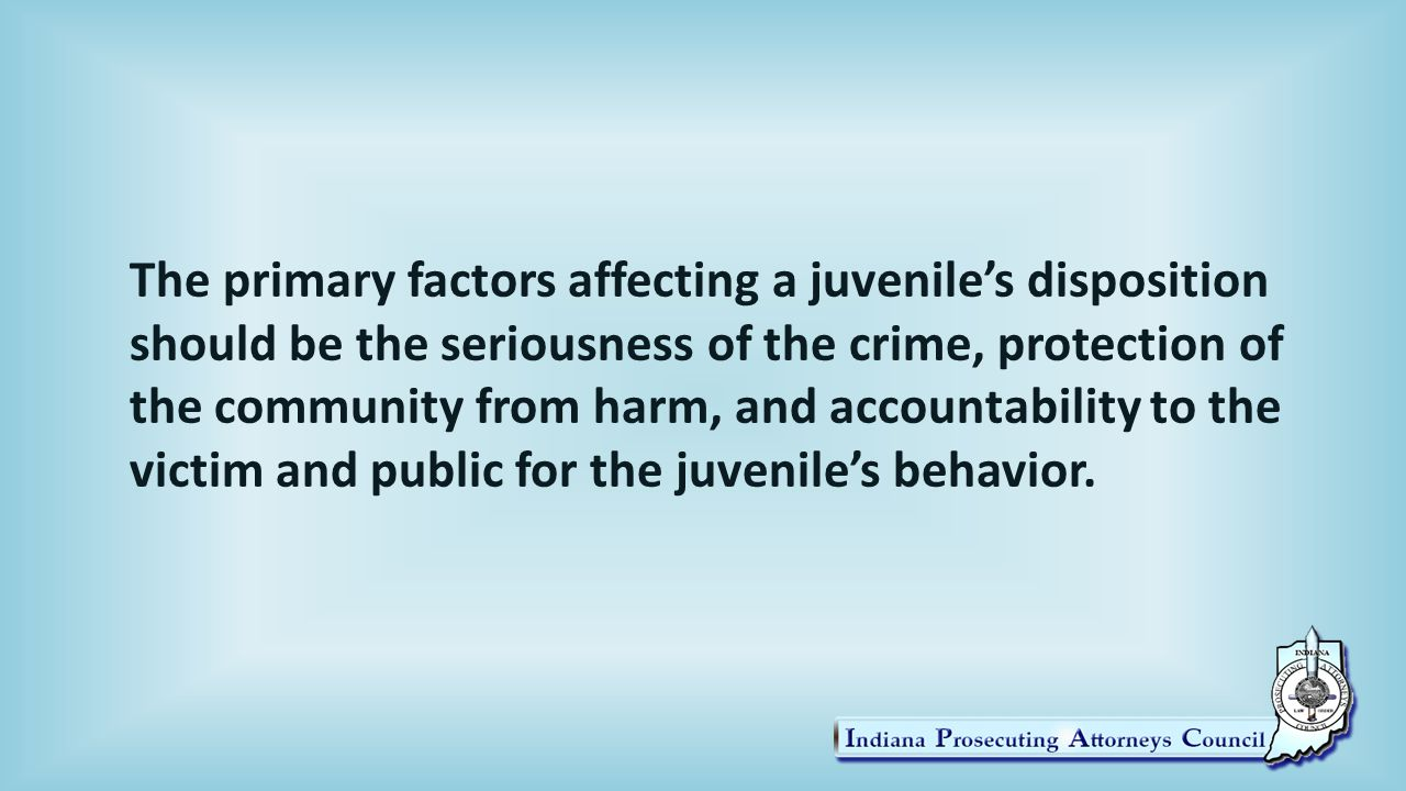 The primary factors affecting a juvenile's disposition should be the seriousness of the crime, protection of the community from harm, and accountability to the victim and public for the juvenile's behavior.