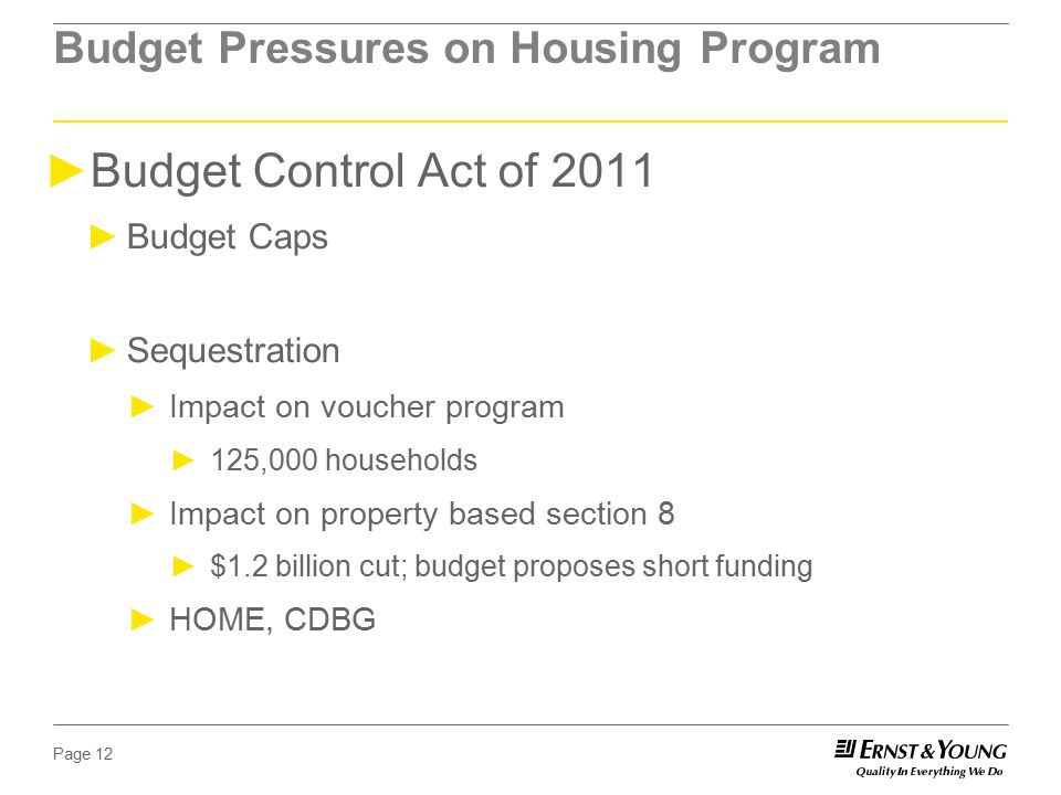Page 12 Budget Pressures on Housing Program ►Budget Control Act of 2011 ►Budget Caps ►Sequestration ►Impact on voucher program ►125,000 households ►Impact on property based section 8 ►$1.2 billion cut; budget proposes short funding ►HOME, CDBG