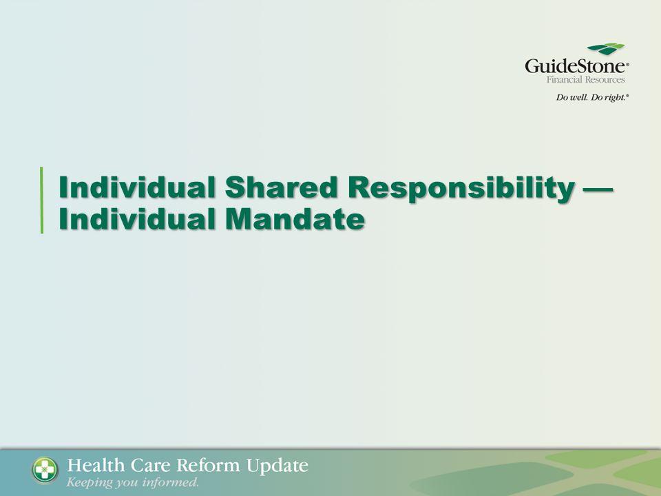 Individual Shared Responsibility — Individual Mandate