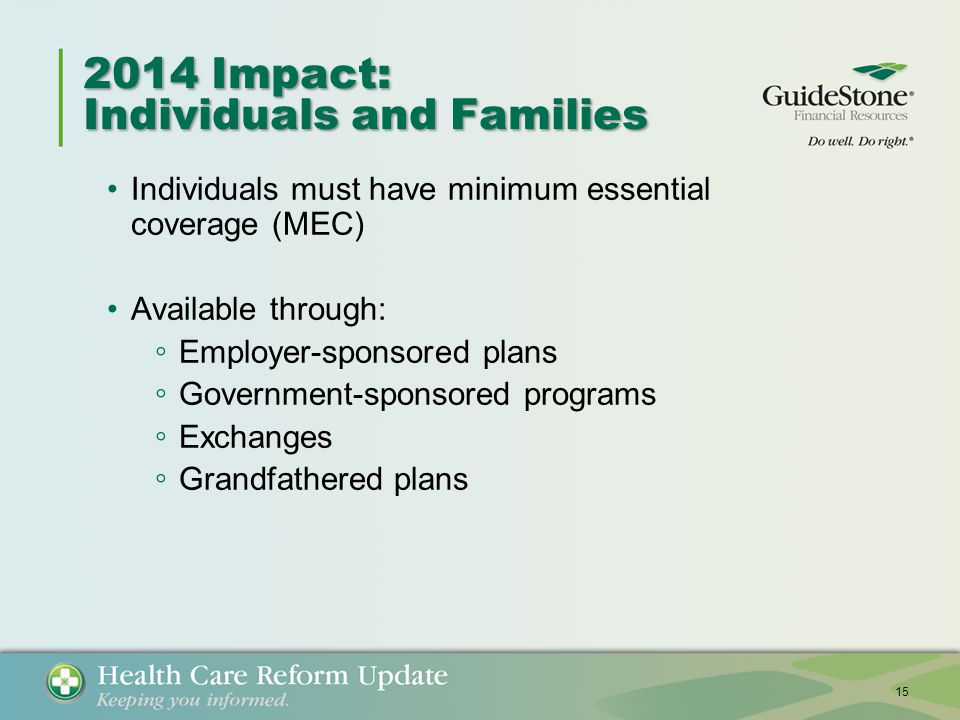 2014 Impact: Individuals and Families Individuals must have minimum essential coverage (MEC) Available through: ◦ Employer-sponsored plans ◦ Government-sponsored programs ◦ Exchanges ◦ Grandfathered plans 15