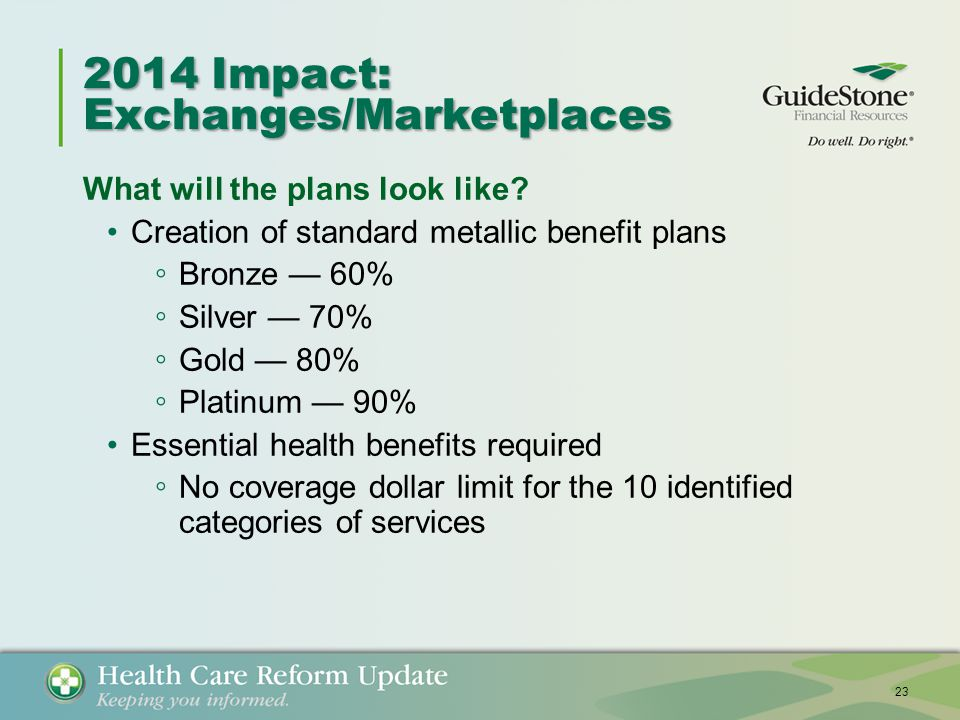 2014 Impact: Exchanges/Marketplaces What will the plans look like.