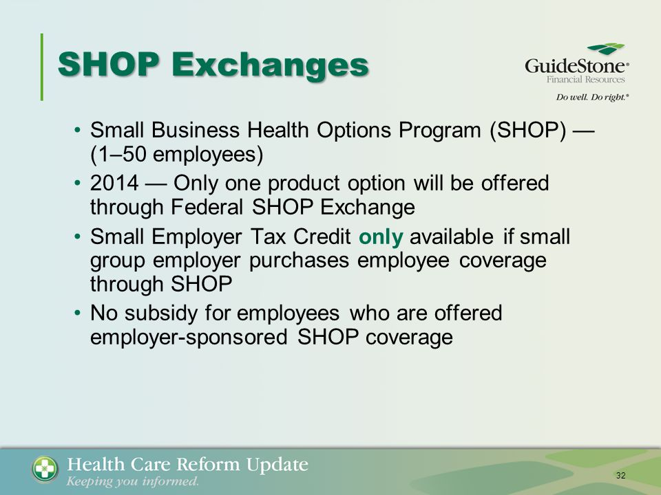 SHOP Exchanges Small Business Health Options Program (SHOP) — (1–50 employees) 2014 — Only one product option will be offered through Federal SHOP Exchange Small Employer Tax Credit only available if small group employer purchases employee coverage through SHOP No subsidy for employees who are offered employer-sponsored SHOP coverage 32