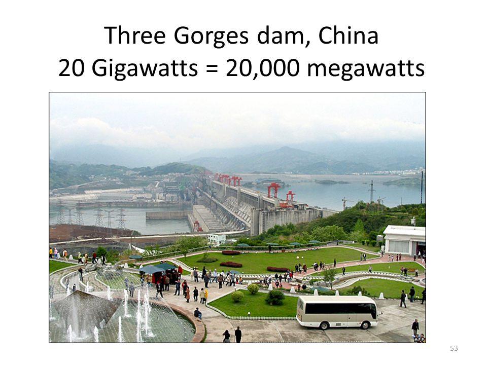Three Gorges dam, China 20 Gigawatts = 20,000 megawatts 53