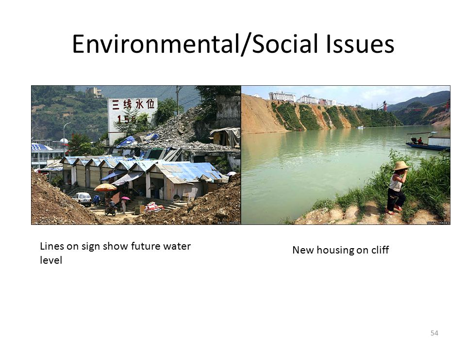 Environmental/Social Issues 54 Lines on sign show future water level New housing on cliff