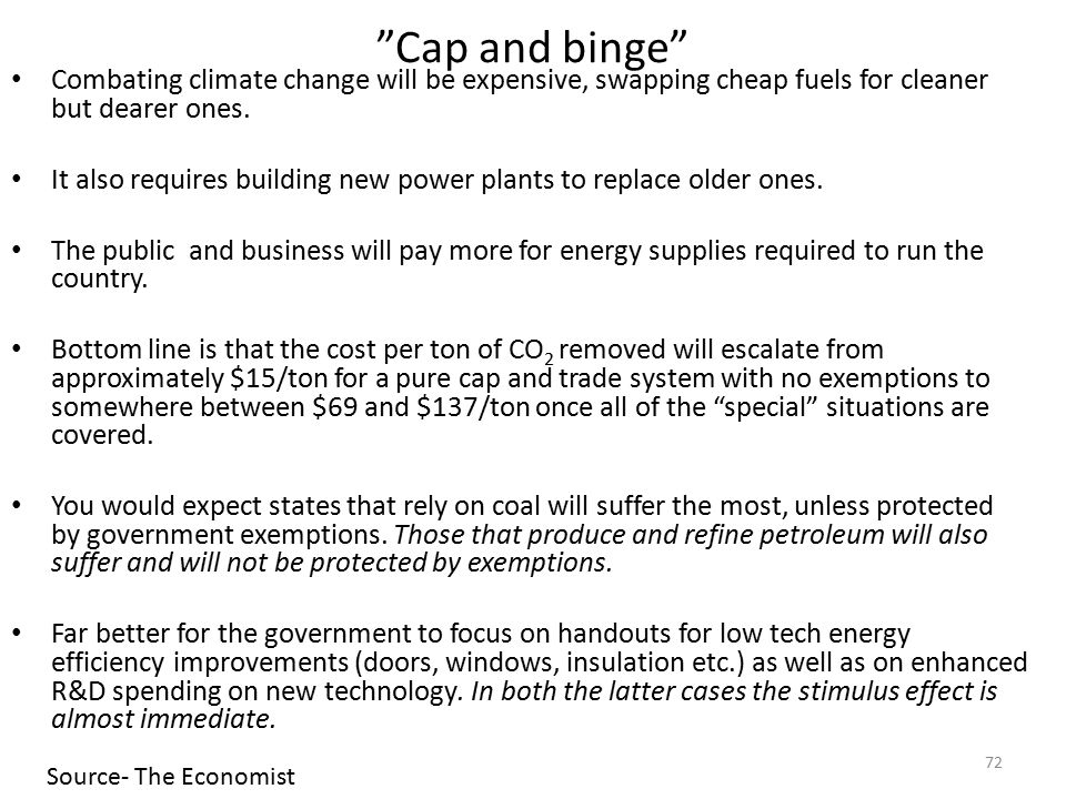 Cap and binge Combating climate change will be expensive, swapping cheap fuels for cleaner but dearer ones.