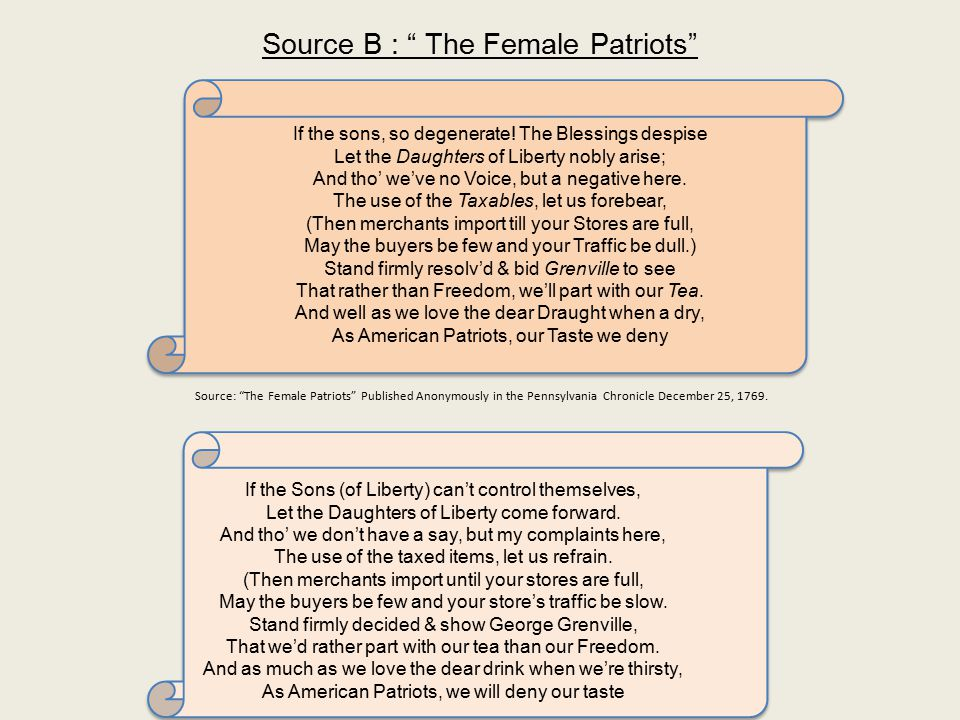 Source B : The Female Patriots If the sons, so degenerate.