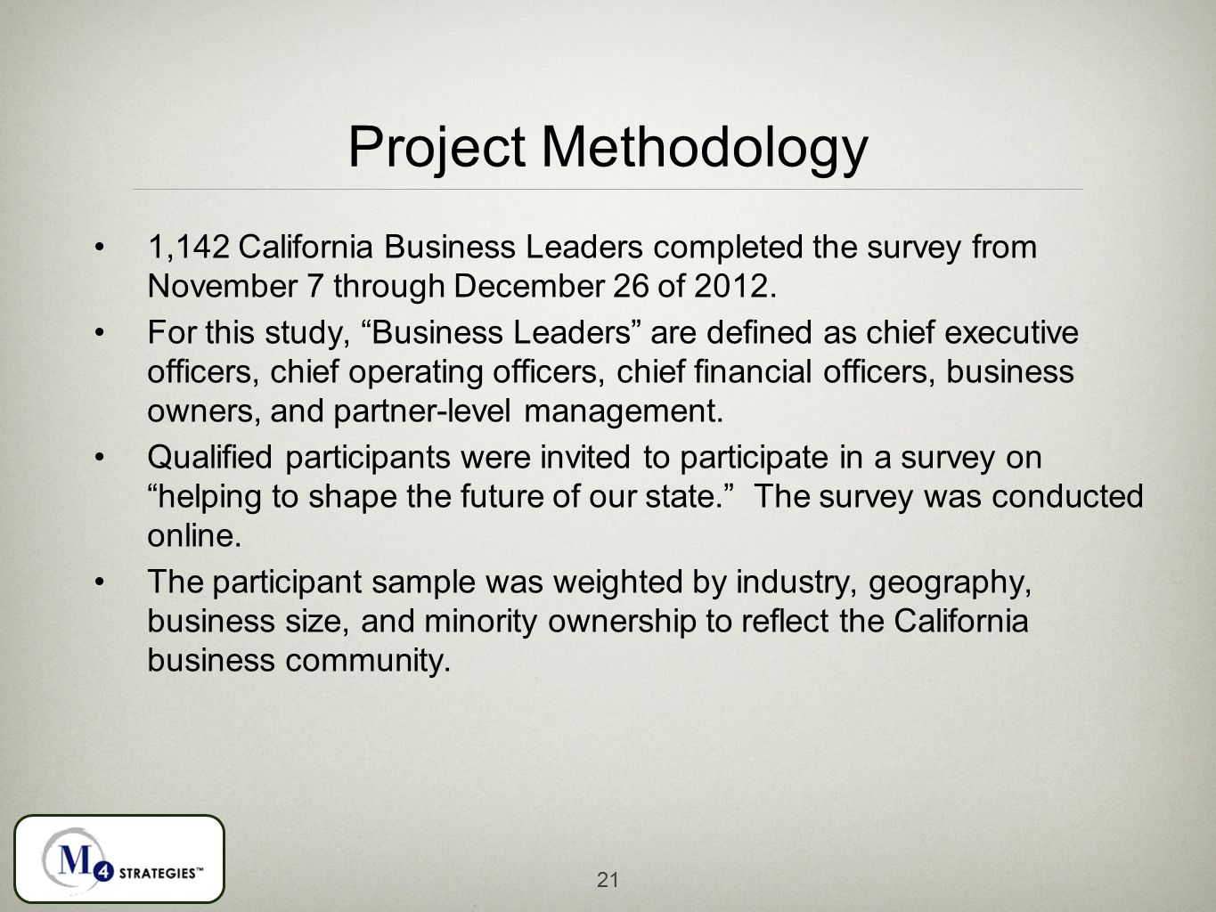 21 Project Methodology 1,142 California Business Leaders completed the survey from November 7 through December 26 of 2012.