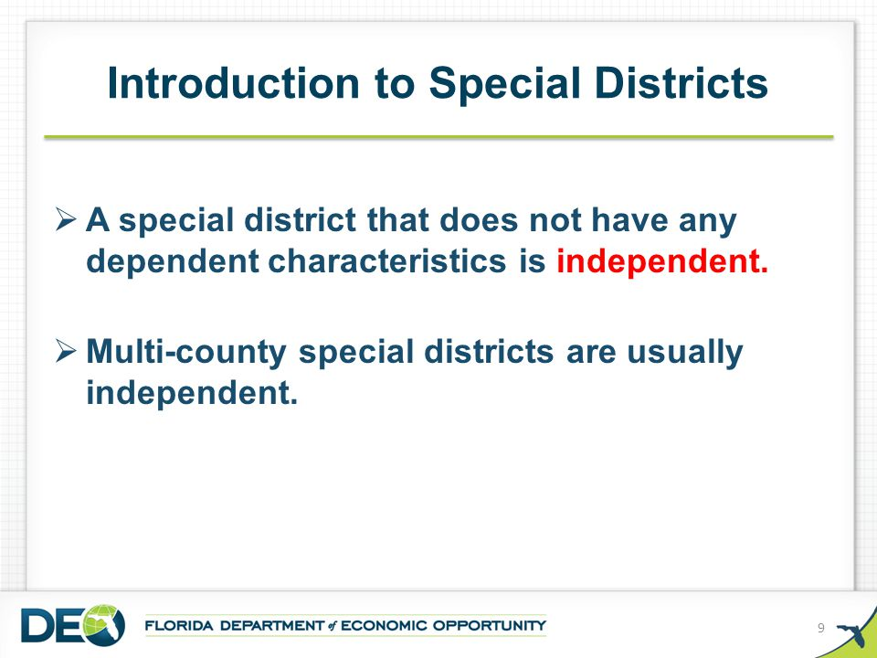  Official List of Special Districts Online All special districts must file their creation document and boundary map, as amended, and registered agent and office information with us so we can formally classify them as independent or dependent and make uniform information about them publically available.