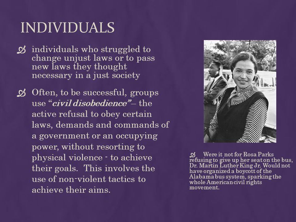 INDIVIDUALS  individuals who struggled to change unjust laws or to pass new laws they thought necessary in a just society  Often, to be successful, groups use civil disobedience – the active refusal to obey certain laws, demands and commands of a government or an occupying power, without resorting to physical violence - to achieve their goals.