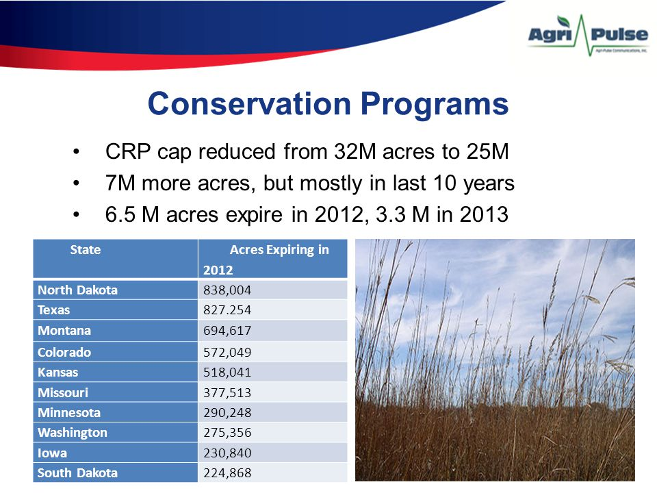 Conservation Programs CRP cap reduced from 32M acres to 25M 7M more acres, but mostly in last 10 years 6.5 M acres expire in 2012, 3.3 M in 2013 State Acres Expiring in 2012 North Dakota838,004 Texas827.254 Montana694,617 Colorado572,049 Kansas518,041 Missouri377,513 Minnesota290,248 Washington275,356 Iowa230,840 South Dakota224,868