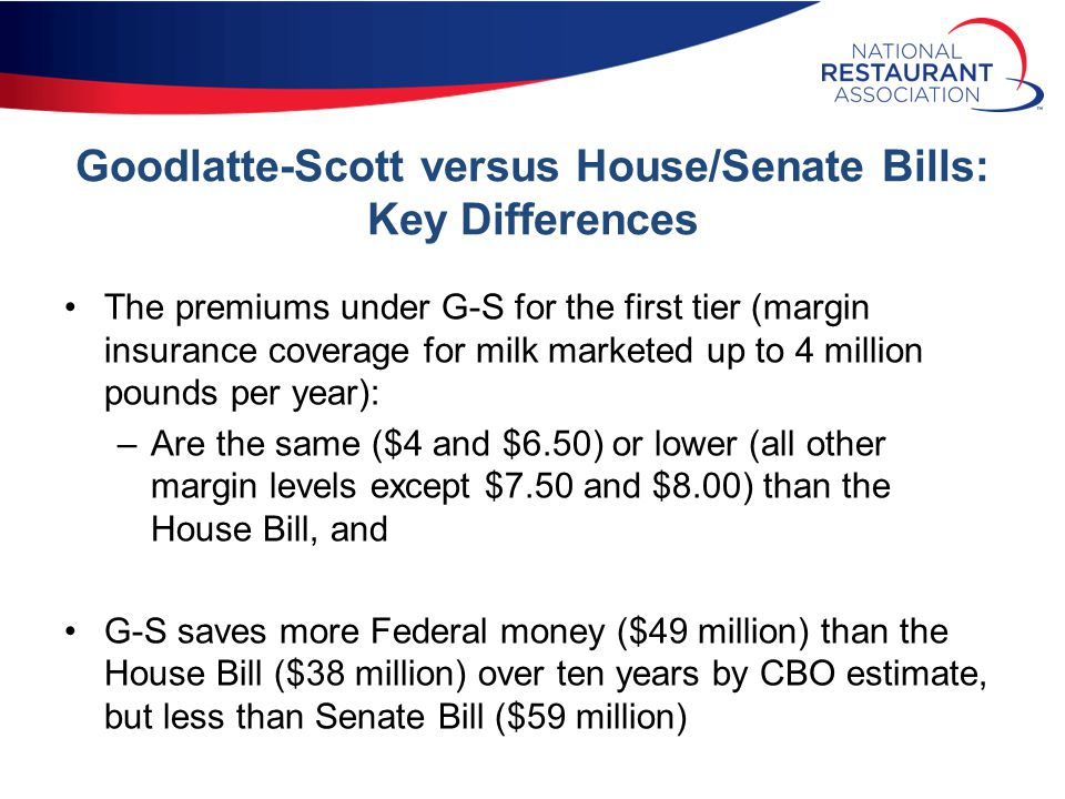 Goodlatte-Scott versus House/Senate Bills: Key Differences The premiums under G-S for the first tier (margin insurance coverage for milk marketed up to 4 million pounds per year): –Are the same ($4 and $6.50) or lower (all other margin levels except $7.50 and $8.00) than the House Bill, and G-S saves more Federal money ($49 million) than the House Bill ($38 million) over ten years by CBO estimate, but less than Senate Bill ($59 million)