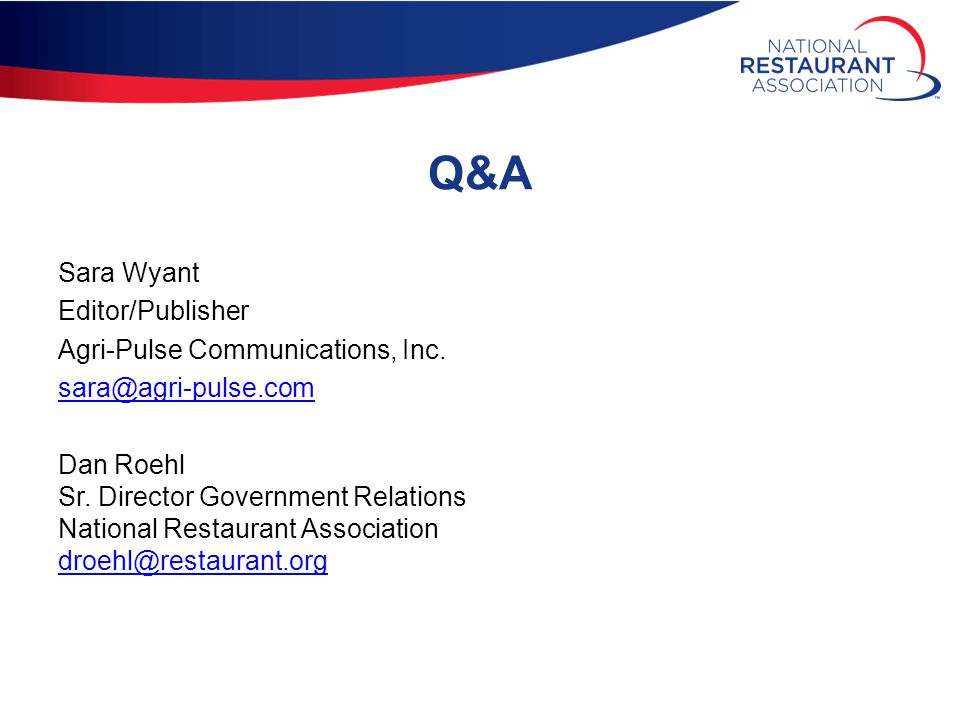 Q&A Sara Wyant Editor/Publisher Agri-Pulse Communications, Inc.