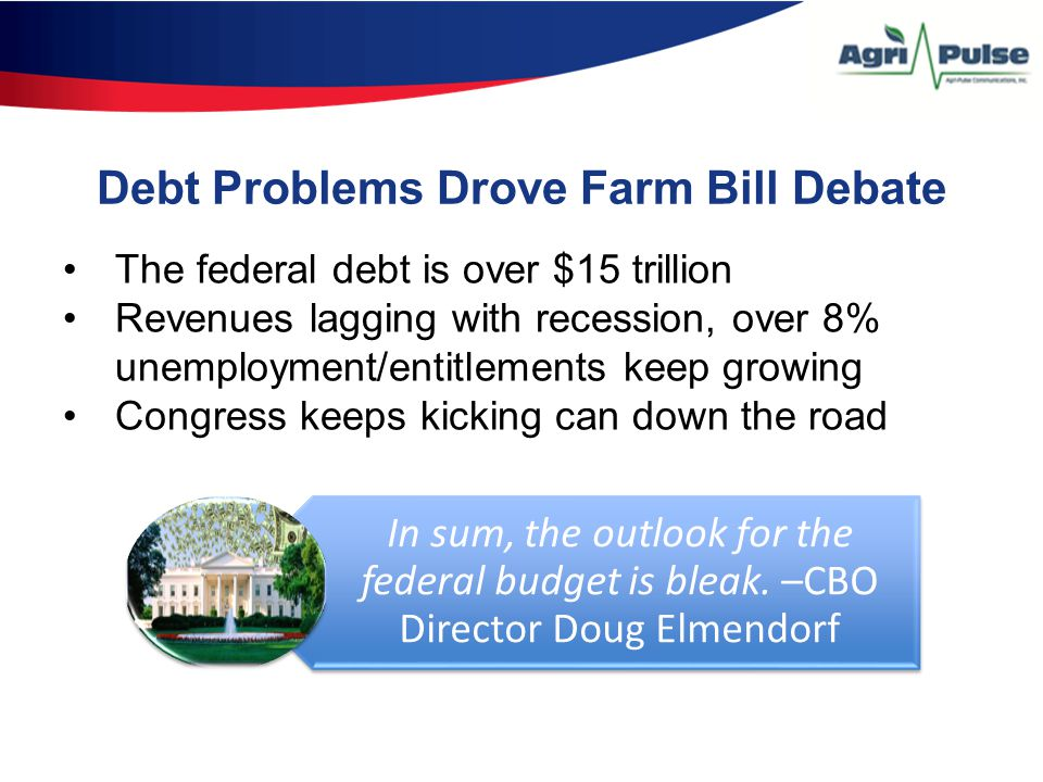 Debt Problems Drove Farm Bill Debate The federal debt is over $15 trillion Revenues lagging with recession, over 8% unemployment/entitlements keep growing Congress keeps kicking can down the road In sum, the outlook for the federal budget is bleak.