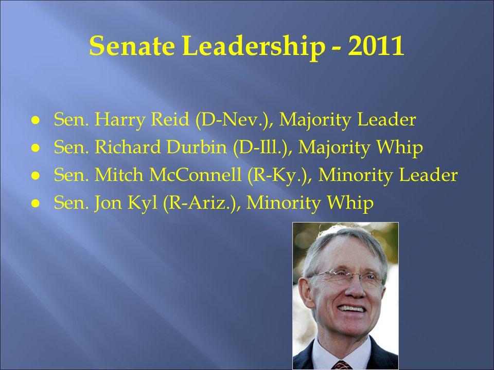 Senate Leadership - 2011 ●Sen. Harry Reid (D-Nev.), Majority Leader ●Sen.