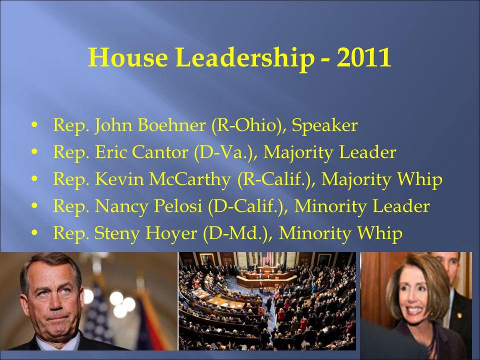 House Leadership - 2011 Rep. John Boehner (R-Ohio), Speaker Rep.