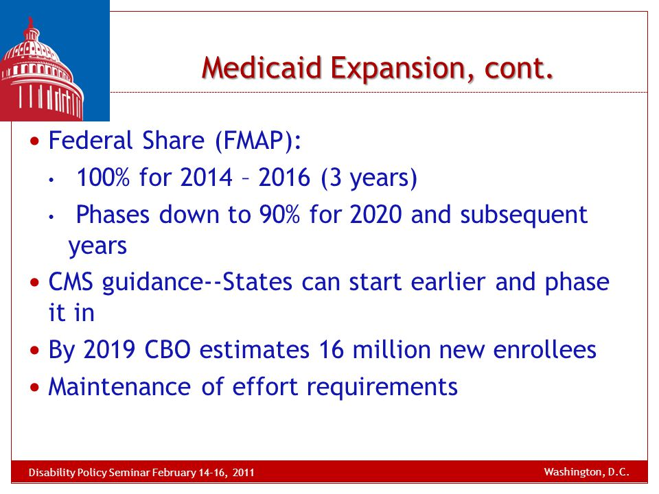 Medicaid Expansion, cont. Federal Share (FMAP): 100% for 2014 – 2016 (3 years) Phases down to 90% for 2020 and subsequent years CMS guidance--States c