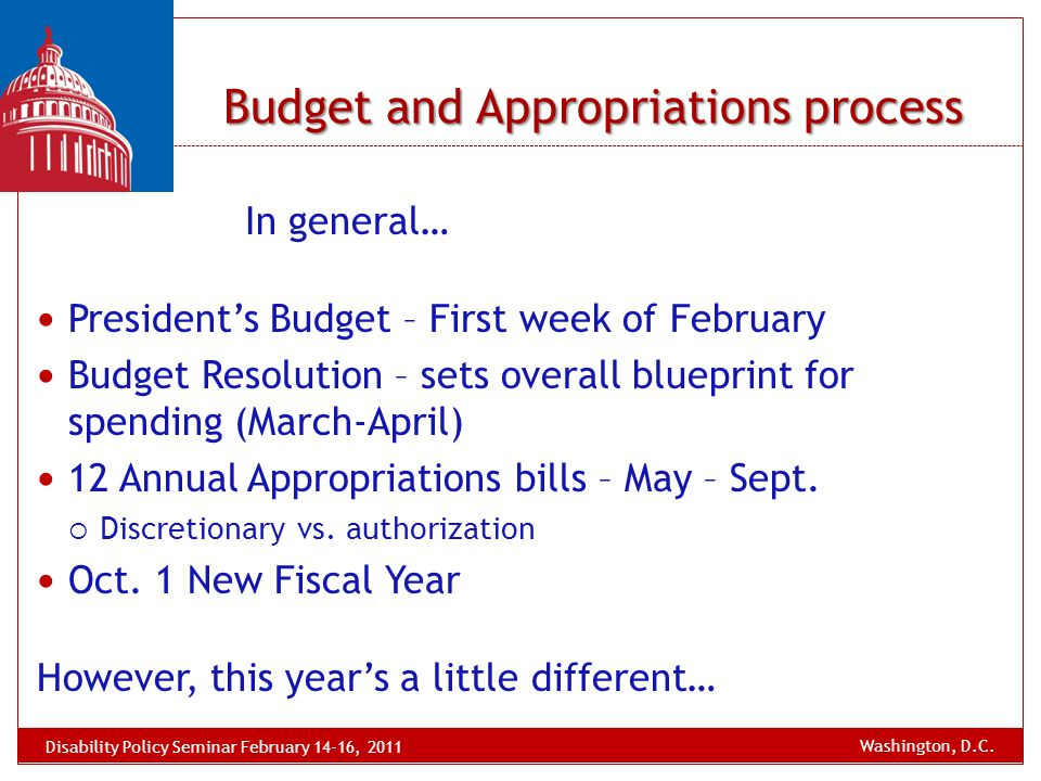 Budget and Appropriations process In general… President's Budget – First week of February Budget Resolution – sets overall blueprint for spending (Mar