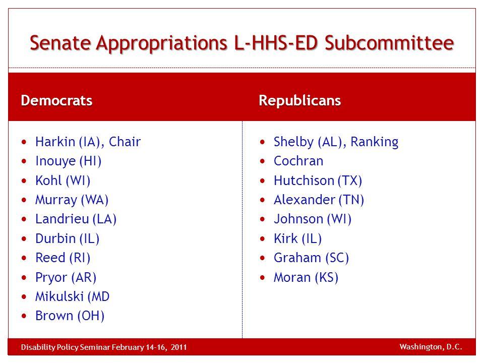 Democrats Republicans Harkin (IA), Chair Inouye (HI) Kohl (WI) Murray (WA) Landrieu (LA) Durbin (IL) Reed (RI) Pryor (AR) Mikulski (MD Brown (OH) Shelby (AL), Ranking Cochran Hutchison (TX) Alexander (TN) Johnson (WI) Kirk (IL) Graham (SC) Moran (KS) Senate Appropriations L-HHS-ED Subcommittee Washington, D.C.