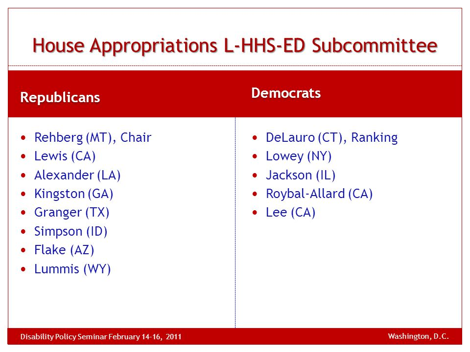 Republicans Democrats Rehberg (MT), Chair Lewis (CA) Alexander (LA) Kingston (GA) Granger (TX) Simpson (ID) Flake (AZ) Lummis (WY) DeLauro (CT), Ranking Lowey (NY) Jackson (IL) Roybal-Allard (CA) Lee (CA) House Appropriations L-HHS-ED Subcommittee Washington, D.C.