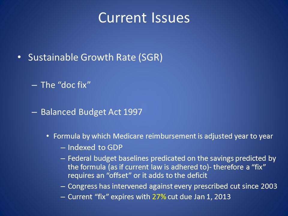 Current Issues Sustainable Growth Rate (SGR) – The doc fix – Balanced Budget Act 1997 Formula by which Medicare reimbursement is adjusted year to year – Indexed to GDP – Federal budget baselines predicated on the savings predicted by the formula (as if current law is adhered to)- therefore a fix requires an offset or it adds to the deficit – Congress has intervened against every prescribed cut since 2003 – Current fix expires with 27% cut due Jan 1, 2013