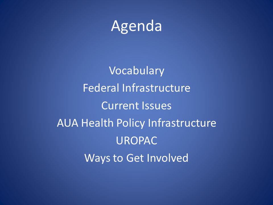 Agenda Vocabulary Federal Infrastructure Current Issues AUA Health Policy Infrastructure UROPAC Ways to Get Involved