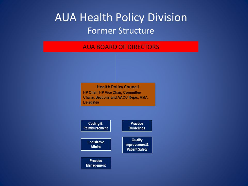 Legislative Affairs Coding & Reimbursement Quality Improvement & Patient Safety Practice Management Health Policy Council HP Chair, HP Vice Chair, Committee Chairs, Sections and AACU Reps., AMA Delegates Practice Guidelines AUA BOARD OF DIRECTORS AUA Health Policy Division Former Structure