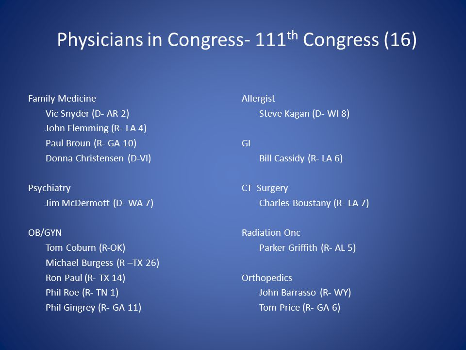 Physicians in Congress- 111 th Congress (16) Family Medicine Vic Snyder (D- AR 2) John Flemming (R- LA 4) Paul Broun (R- GA 10) Donna Christensen (D-VI) Psychiatry Jim McDermott (D- WA 7) OB/GYN Tom Coburn (R-OK) Michael Burgess (R –TX 26) Ron Paul (R- TX 14) Phil Roe (R- TN 1) Phil Gingrey (R- GA 11) Allergist Steve Kagan (D- WI 8) GI Bill Cassidy (R- LA 6) CT Surgery Charles Boustany (R- LA 7) Radiation Onc Parker Griffith (R- AL 5) Orthopedics John Barrasso (R- WY) Tom Price (R- GA 6)