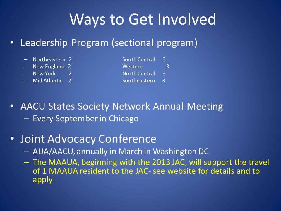 Ways to Get Involved Leadership Program (sectional program) – Northeastern 2South Central 3 – New England 2Western 3 – New York 2North Central 3 – Mid