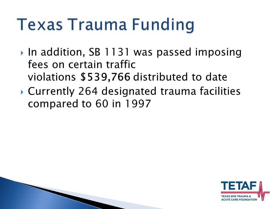  In addition, SB 1131 was passed imposing fees on certain traffic violations $539,766 distributed to date  Currently 264 designated trauma facilities compared to 60 in 1997