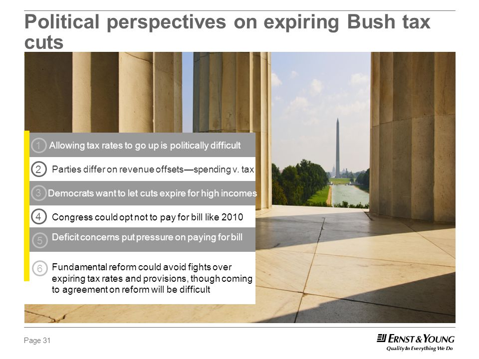 Page 31 Political perspectives on expiring Bush tax cuts Allowing tax rates to go up is politically difficult Congress could opt not to pay for bill like 2010 Fundamental reform could avoid fights over expiring tax rates and provisions, though coming to agreement on reform will be difficult 2 3 4 5 1 Parties differ on revenue offsets—spending v.