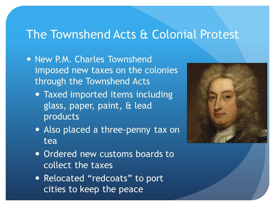 The Townshend Acts & Colonial Protest New P.M.