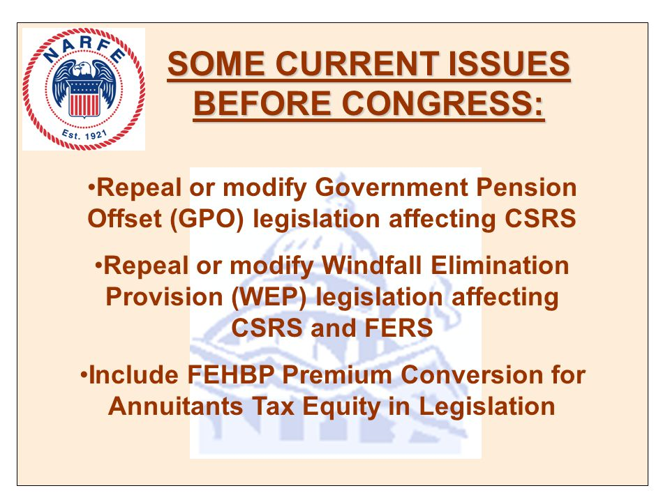 SOME CURRENT ISSUES BEFORE CONGRESS: Repeal or modify Government Pension Offset (GPO) legislation affecting CSRS Repeal or modify Windfall Elimination Provision (WEP) legislation affecting CSRS and FERS Include FEHBP Premium Conversion for Annuitants Tax Equity in Legislation
