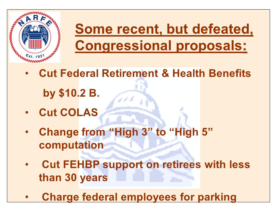 : Some recent, but defeated, Congressional proposals: Cut Federal Retirement & Health Benefits by $10.2 B.