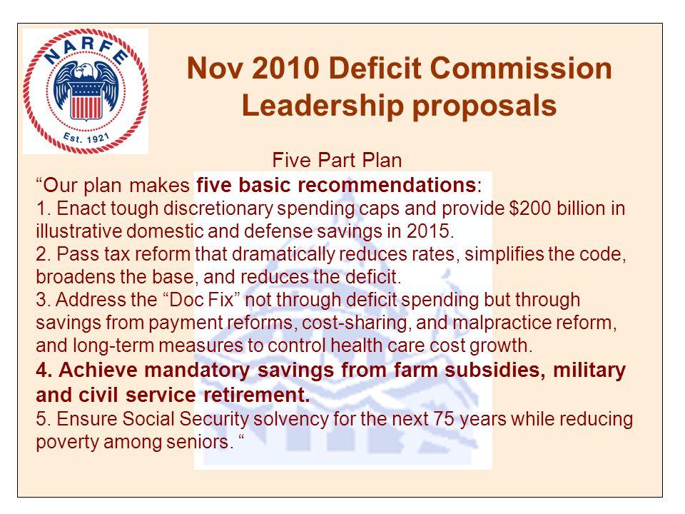 Nov 2010 Deficit Commission Leadership proposals Five Part Plan Our plan makes five basic recommendations: 1.