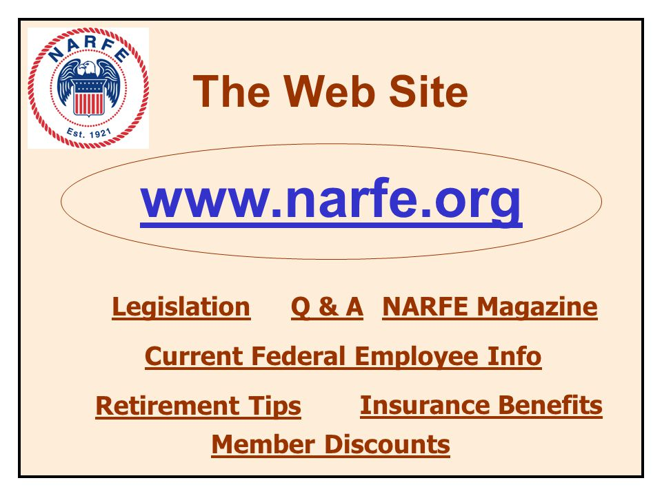 The Web Site www.narfe.org Legislation Retirement Tips NARFE Magazine Member Discounts Q & A Current Federal Employee Info Insurance Benefits