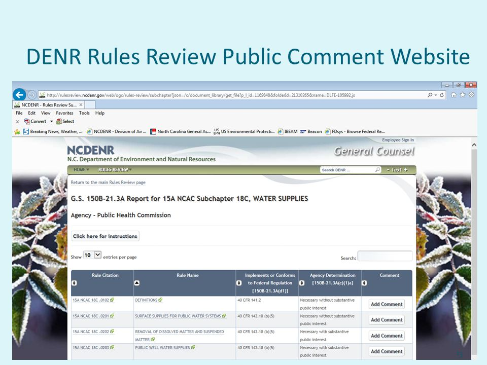 DENR Rules Review Public Comment Website 13