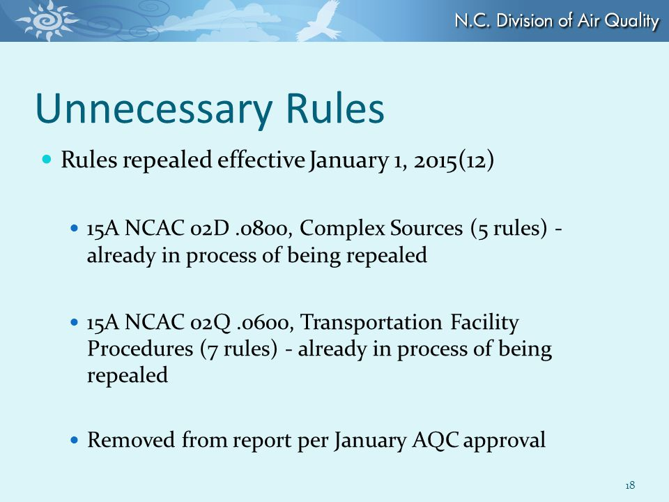 Unnecessary Rules Rules repealed effective January 1, 2015(12) 15A NCAC 02D.0800, Complex Sources (5 rules) - already in process of being repealed 15A NCAC 02Q.0600, Transportation Facility Procedures (7 rules) - already in process of being repealed Removed from report per January AQC approval 18
