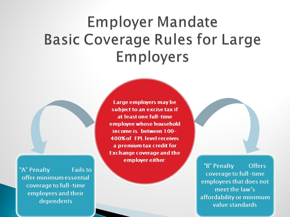 Large employers may be subject to an excise tax if at least one full-time employee whose household income is between 100- 400% of FPL level receives a premium tax credit for Exchange coverage and the employer either: A Penalty Fails to offer minimum essential coverage to full-time employees and their dependents B Penalty Offers coverage to full-time employees that does not meet the law's affordability or minimum value standards