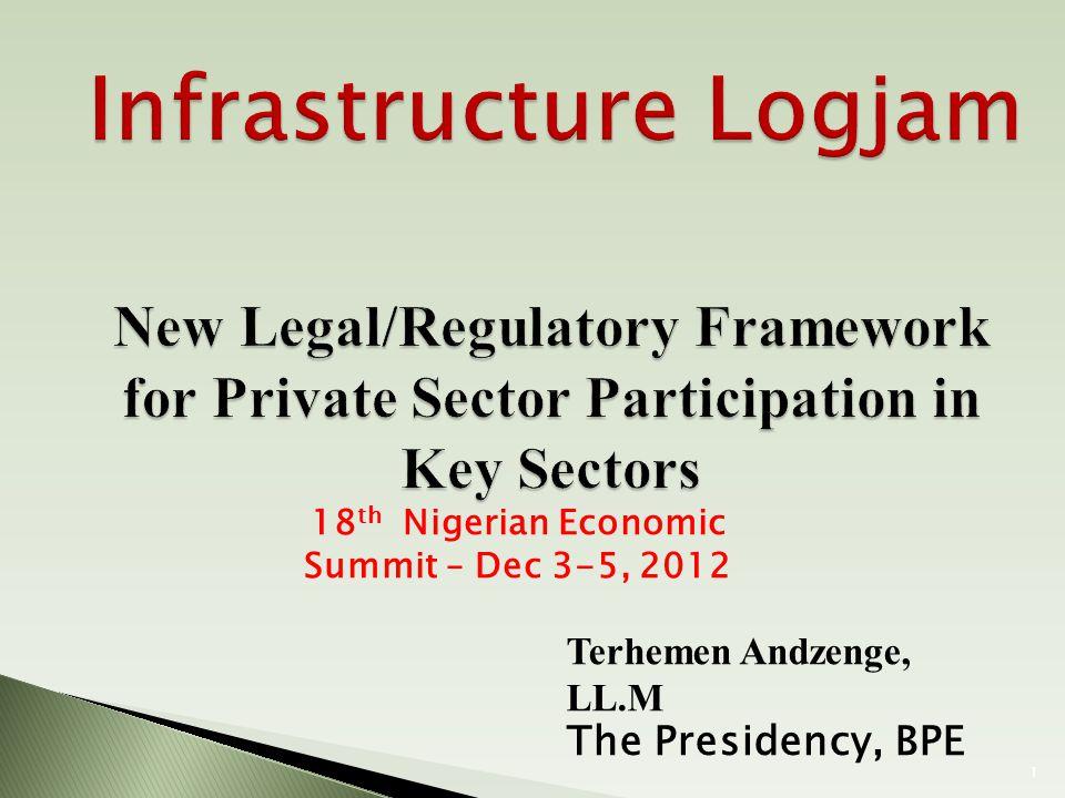 Terhemen Andzenge, LL.M The Presidency, BPE 18 th Nigerian Economic Summit – Dec 3-5, 2012 1