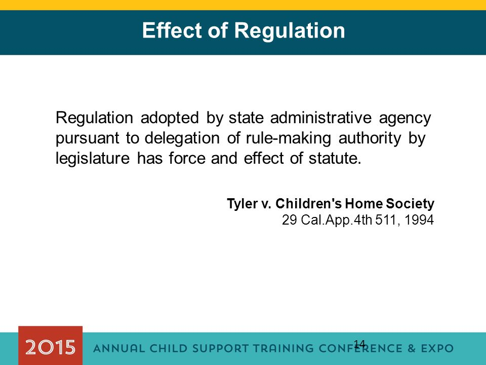 14 Effect of Regulation Regulation adopted by state administrative agency pursuant to delegation of rule-making authority by legislature has force and