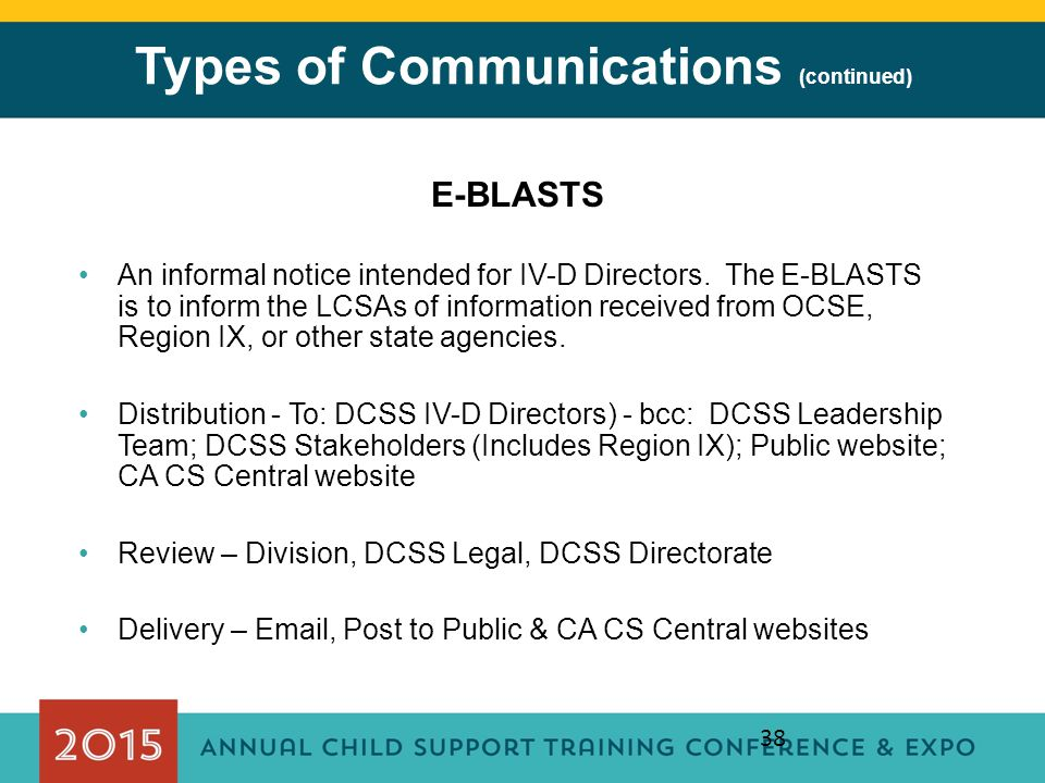 38 Types of Communications (continued) E-BLASTS An informal notice intended for IV-D Directors. The E-BLASTS is to inform the LCSAs of information rec