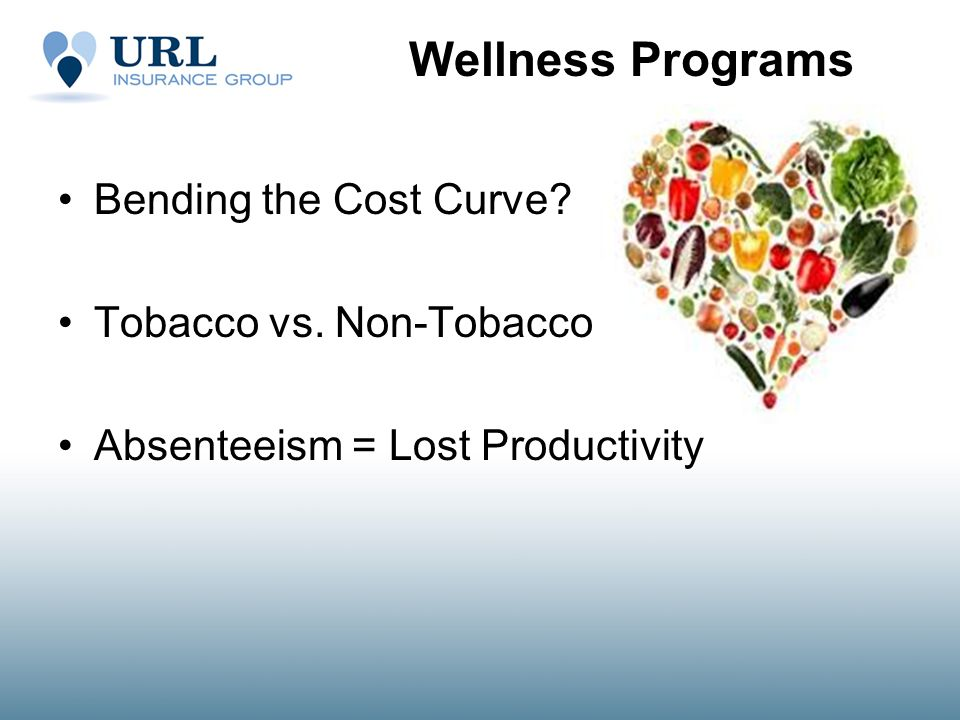 Wellness Programs Bending the Cost Curve Tobacco vs. Non-Tobacco Absenteeism = Lost Productivity