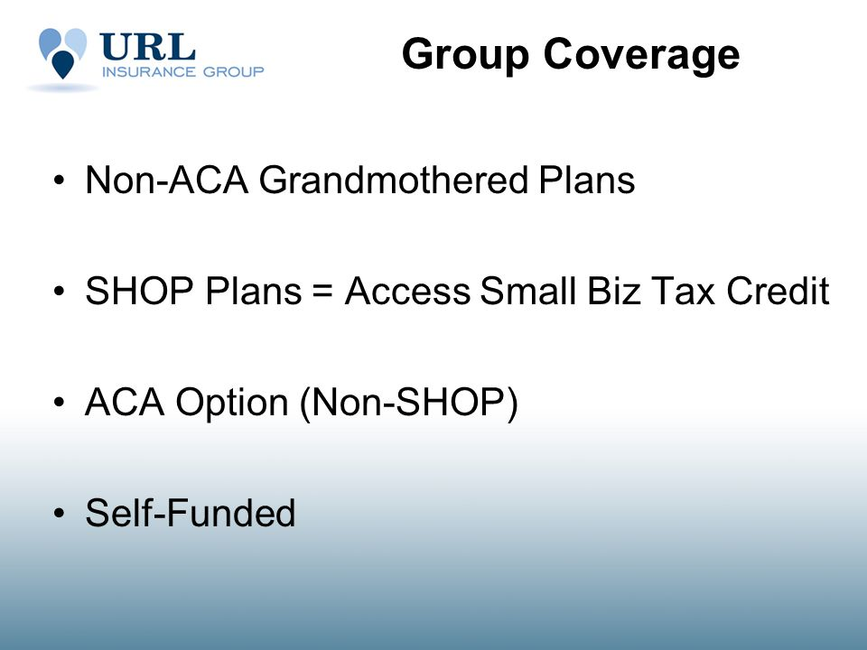 Group Coverage Non-ACA Grandmothered Plans SHOP Plans = Access Small Biz Tax Credit ACA Option (Non-SHOP) Self-Funded