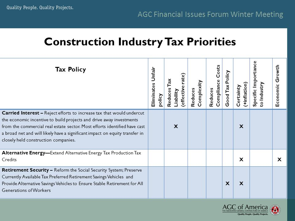AGC Financial Issues Forum Winter Meeting Construction Industry Tax Priorities Tax Policy Eliminates Unfair policy Reduces Tax Liability (effective rate) Reduces Complexity Reduces Compliance Costs Good Tax Policy Certainty (+inflation) Specific Importance to Industry Economic Growth Carried Interest – Reject efforts to increase tax that would undercut the economic incentive to build projects and drive away investments from the commercial real estate sector.