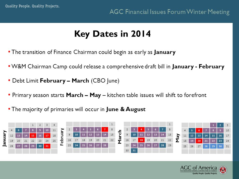 AGC Financial Issues Forum Winter Meeting Key Dates in 2014 1234 467891011 12131415161718 19202122232425 262728293031 January 1 2345678 9101112131415 16171819202122 23242526272829 3031 March 123 45678910 11121314151617 18192021222324 25262728293031 May The transition of Finance Chairman could begin as early as January W&M Chairman Camp could release a comprehensive draft bill in January - February Debt Limit February – March (CBO June) Primary season starts March – May – kitchen table issues will shift to forefront The majority of primaries will occur in June & August 1 2345678 9101112131415 16171819202122 232425262728 February