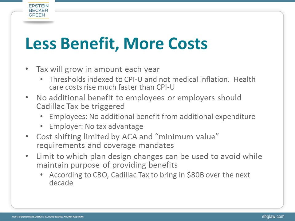 Tax will grow in amount each year Thresholds indexed to CPI-U and not medical inflation.
