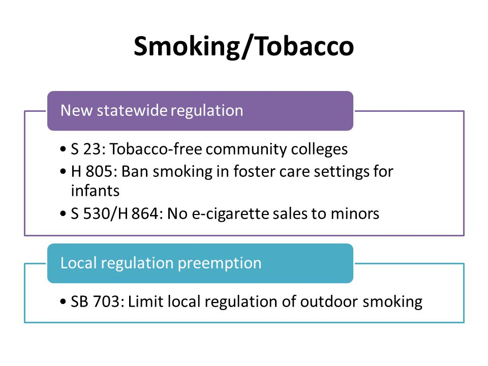 Smoking/Tobacco S 23: Tobacco-free community colleges H 805: Ban smoking in foster care settings for infants S 530/H 864: No e-cigarette sales to minors New statewide regulation SB 703: Limit local regulation of outdoor smoking Local regulation preemption