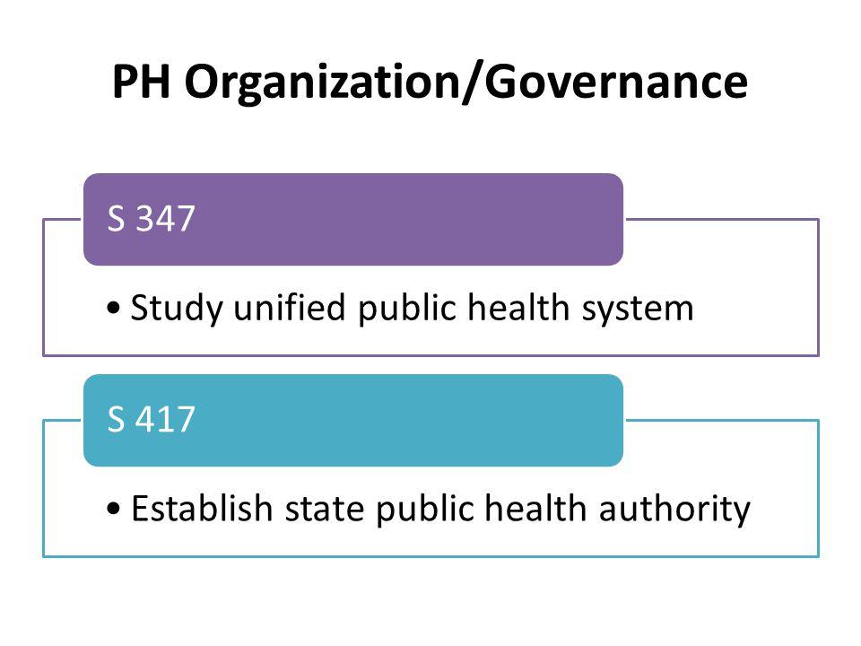 PH Organization/Governance Study unified public health system S 347 Establish state public health authority S 417