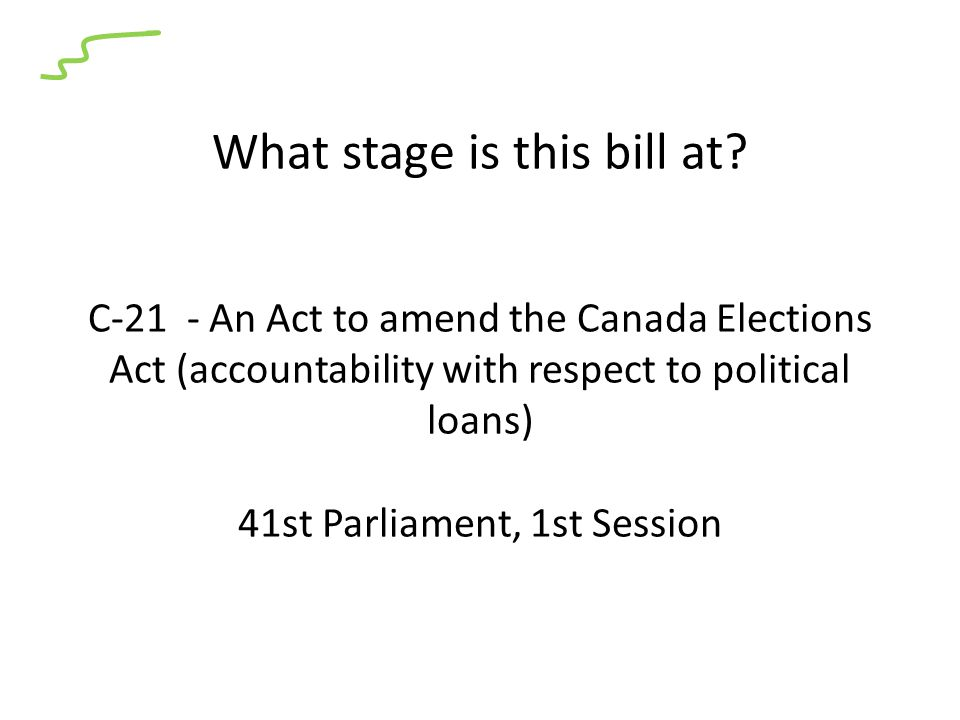 What stage is this bill at? C-21 - An Act to amend the Canada Elections Act (accountability with respect to political loans) 41st Parliament, 1st Sess