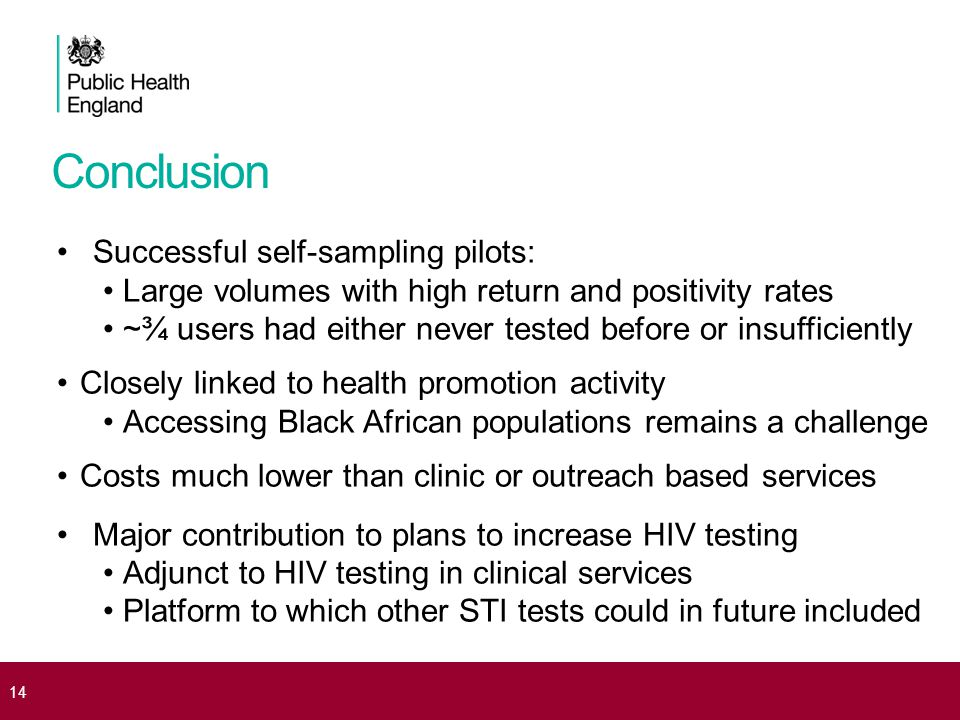 Conclusion Successful self-sampling pilots: Large volumes with high return and positivity rates ~¾ users had either never tested before or insufficien